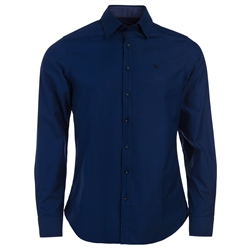 Magee Clothing Navy Glencoagh Concealed Button Down Tailored Fit Shirt