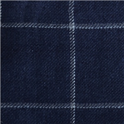 Magee Clothing Luxury Navy Blue & White Over Check Linen & Silk Fabric