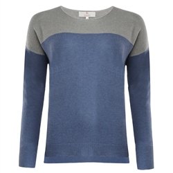 Magee 1866 Paloma Blue & Grey Silk Blend Classic Fit Sweater