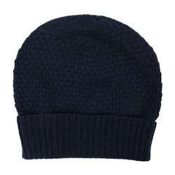 Magee Clothing Navy Blue Lambswool Birdseye Knit Beanie Hat