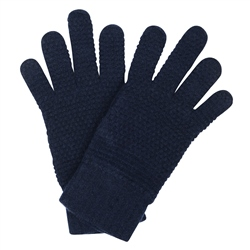 Magee 1866 Blue Lambswool Micro-Design Knit Gloves