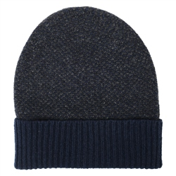 Magee Clothing Navy & Blue Lambswool Birdseye Knit Beanie Hat