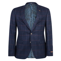 Magee Clothing Navy, Raspberry & Blue Overcheck Tailored Fit Blazer