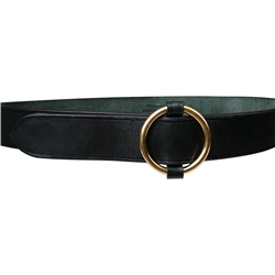 Luxury Leather Green Ring Belt
