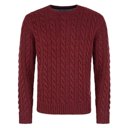 Magee 1866 Red Donegal Fleck Cable Crew Neck Jumper