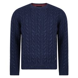 Magee Clothing Navy Donegal Fleck Cable Crew Neck Jumper