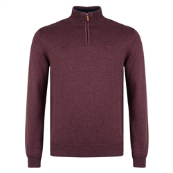 Magee 1866 Burgundy Carn 1/4 Zip Sweater