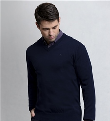 Magee 1866 Navy Carn Cotton V Neck Sweater