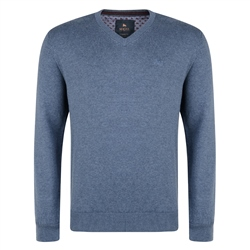 Magee 1866 Blue Carn Cotton V Neck Sweater