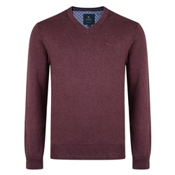 Magee 1866 Burgundy Carn Cotton V Neck Sweater
