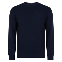 Magee 1866 Navy Faugher Cotton Structure Crew Neck Sweater