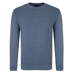 Magee 1866 Blue Faugher Cotton Structure Crew Neck Sweater