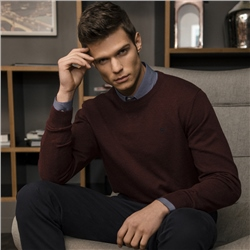 Magee 1866 Burgundy Faugher Cotton Structure Crew Neck Sweater