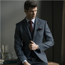 Magee Clothing Navy & Grey Geometric Donegal Tweed Tailored Fit Blazer