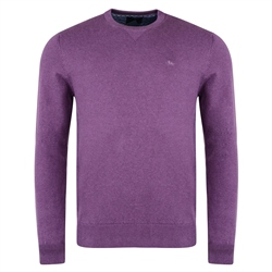Magee 1866 Purple Carn Cotton Crew Neck Sweater