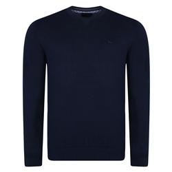 Magee 1866 Navy Carn Cotton Crew Neck Sweater