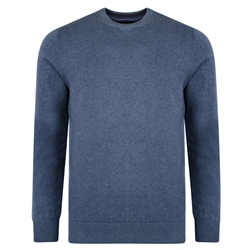 Magee 1866 Blue Carn Cotton Crew Neck Sweater