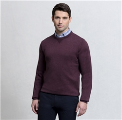 Magee Clothing Burgundy Carn Cotton Crew Neck Sweater