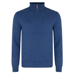 Magee Clothing Dark Indigo Lunniagh Lambswool 1/4 Zip Classic Fit Jumper