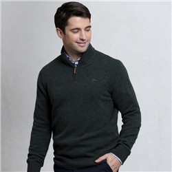 Magee Clothing Olive Lunniagh Lambswool 1/4 Zip Classic Fit Jumper