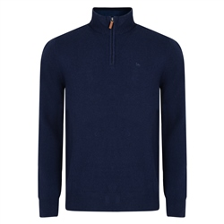 Magee 1866 Navy Lunniagh Lambswool 1/4 Zip Classic Fit Jumper