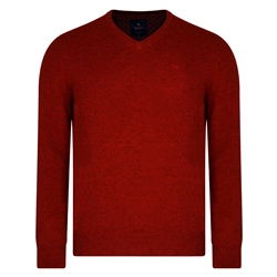 Magee 1866 Red Lunniagh V-Neck Classic Fit Jumper
