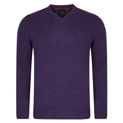 Magee Clothing Purple Lunniagh V-Neck Classic Fit Jumper