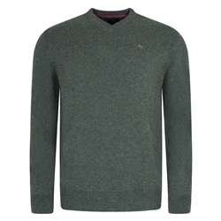 Magee Clothing Olive Lunniagh V-Neck Classic Fit Jumper
