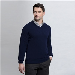 Magee Clothing Navy Lunniagh V-Neck Classic Fit Jumper
