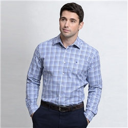 Magee Clothing Blue & White Knockfola Checked Classic Fit Shirt