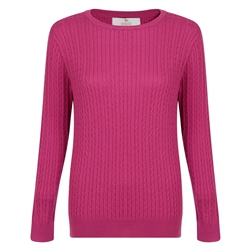 Magee 1866 Pink Cable Knit Crew Neck Jumper