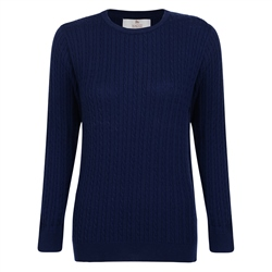 Magee 1866 Midnight Blue Cable Knit Crew Neck Jumper