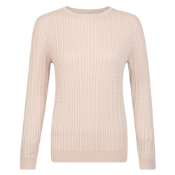 Magee 1866 Oat Cable Knit Crew Neck Jumper