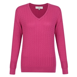 Magee 1866 Pink Cable Knit V-Neck Jumper