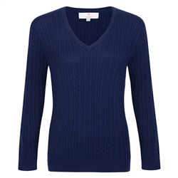 Magee 1866 Midnight Blue Cable Knit V-Neck Jumper