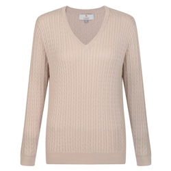 Magee 1866 Oat Cable Knit V-Neck Jumper