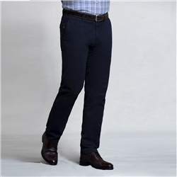 Magee 1866 Navy Braide Washed Look Slim Fit Trousers