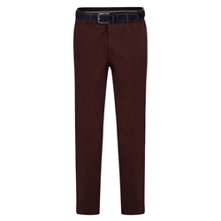 Magee 1866 Maroon Braide Washed Look Slim Fit Trousers