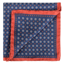 Blue Micro Design Silk Pocket Square