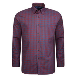 Magee 1866 Burgundy & Blue Checked Concealed Button Down Classic Fit Shirt