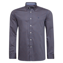 Magee 1866 Blue, Orange Micro Design Ramelton Tailored Fit Shirt
