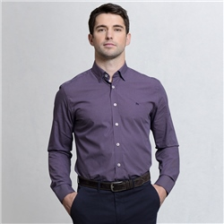 Magee Clothing Plum Geometric Print Concealed Button Down Classic Fit Shirt