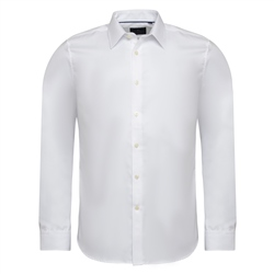 Magee 1866 White Formal Cotton Twill Tailored Fit Dress Collar Shirt