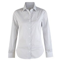 Magee 1866 White Striped Cotton Stretch Tailored Fit Shirt