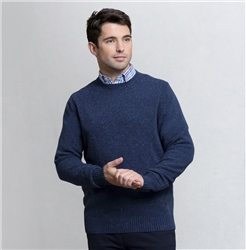 Magee 1866 Doagh Blue Lambswool Donegal Fleck Crew Neck Jumper