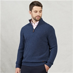 Magee 1866 Doagh Blue Lambswool Donegal Fleck 1/4 Zip Jumper