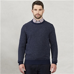 Magee 1866 Navy & Charcoal Classic Fit Crew Neck Sweater