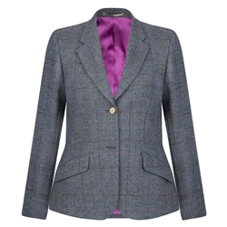 Magee 1866 Blue & Grey Windowpane Checked Donegal Tweed Jacket
