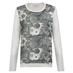 Magee 1866 Grey Chloe Liberty Print Panel Cashmere Blend Jumper