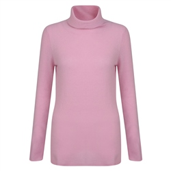 Magee 1866 Luxury Pink Cashmere Roll Neck Jumper